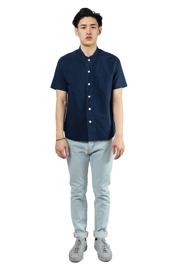 Men's YMC Furies Stitch Stripe Shirt Indigo