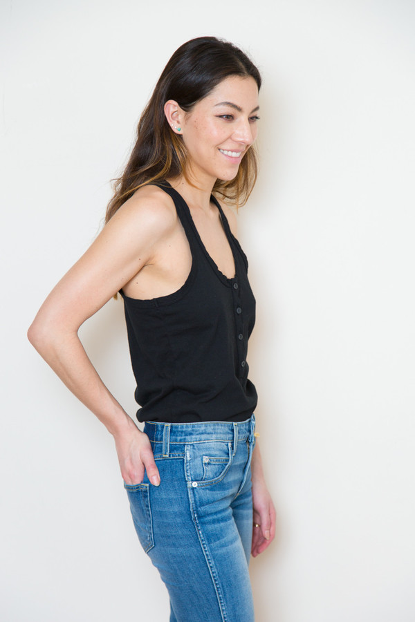 atelier delphine button tank in black