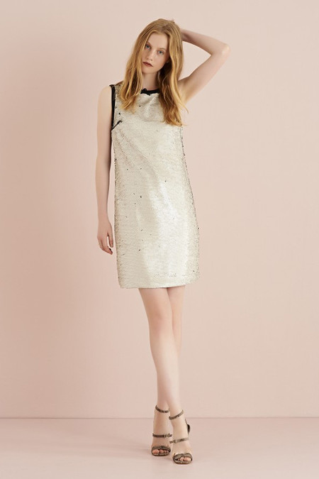 Ottod'ame Sleeveless Shift Dress with Sequins