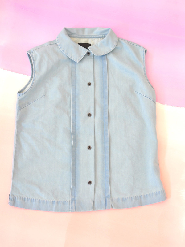 """Courtshop """"Robin"""" Sleeveless Pintucked Chambray Blouse"""