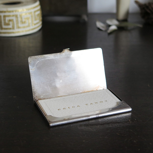 silver monogram cardholder