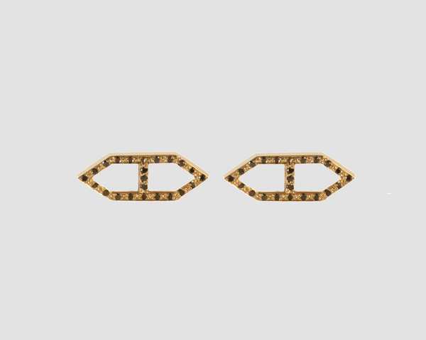Lacar Gold and Black diamond Helm Earrings