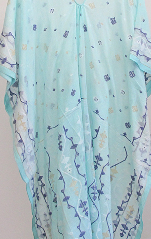 Two New York Seafoam Jamdani caftan