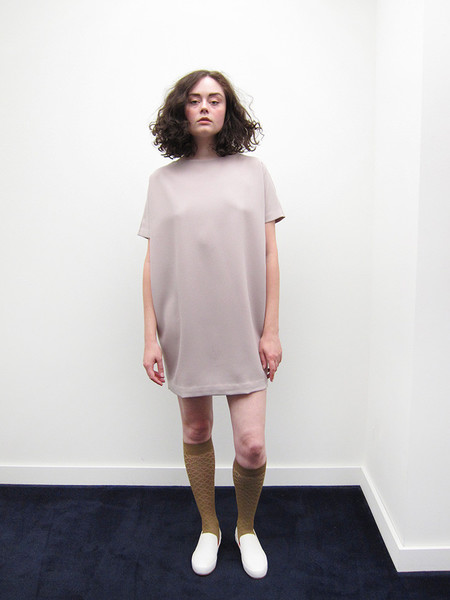 KAAREM Angle Mini Dolman Open Back Dress, Cream