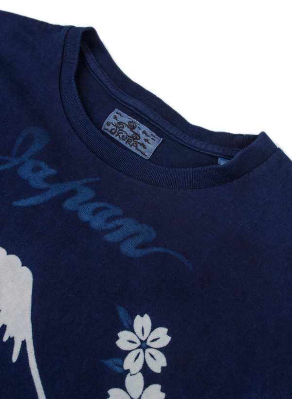 "Men's Blue Blue Japan Knitted Indigo ""Bassen"" Sakura-Mt. Fuji-Tiger Print Tee"
