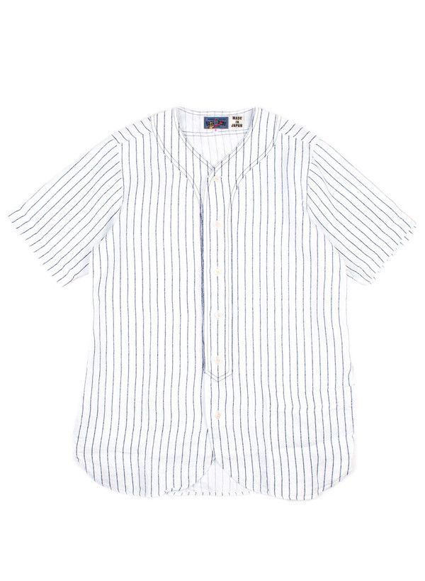 Men's Blue Blue Japan Woven Linen Twill Baseball Shirt