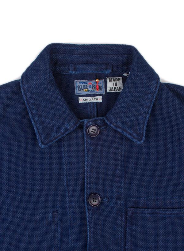 """Men's Blue Blue Japan Woven Pure Indigo """"Sashiko"""" Used Washed Coverall Jacket"""