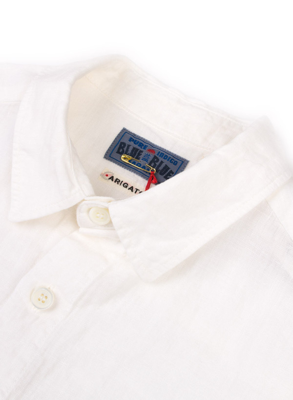 "Men's Blue Blue Japan Woven White Linen ""Hanteen"" Cutover LS Shirt"