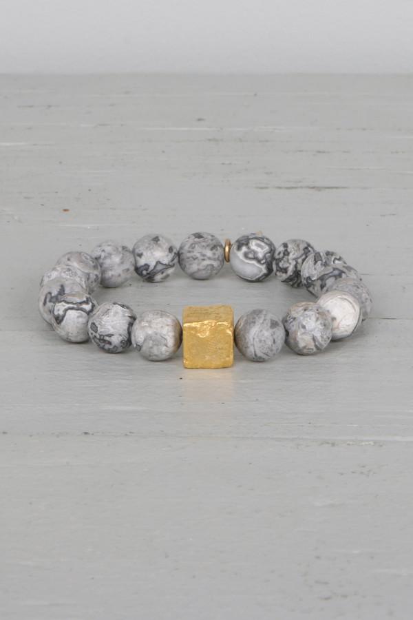 Mickey Lynn ML7460G Silver Leaf Jasper Bracelet