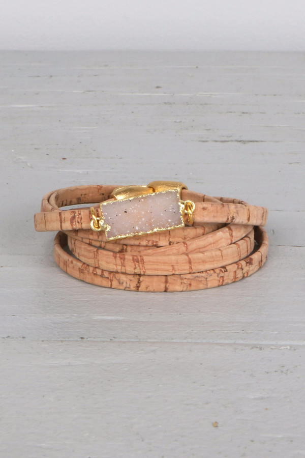 Mickey Lynn ML8015 Cork Wrap W/ Rectangle Druzy