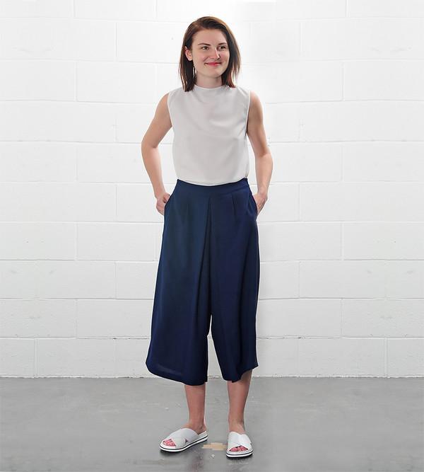a c h r o Pleated Wide Leg Culottes