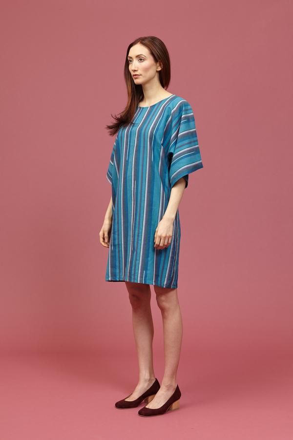 Tantuvi Kimono Dress (Striped Emerald)