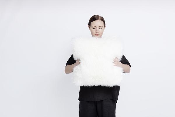 "Primecut Ivory Sheepskin Pillow (17"" x 17"")"
