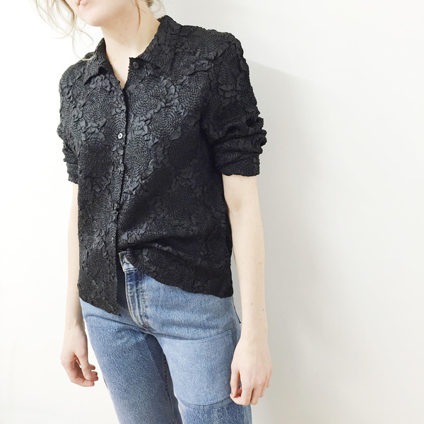 Johan Vintage Black Pleats Shirt