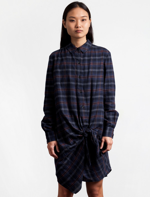 Thakoon Addition Flannel Side Tie Dress