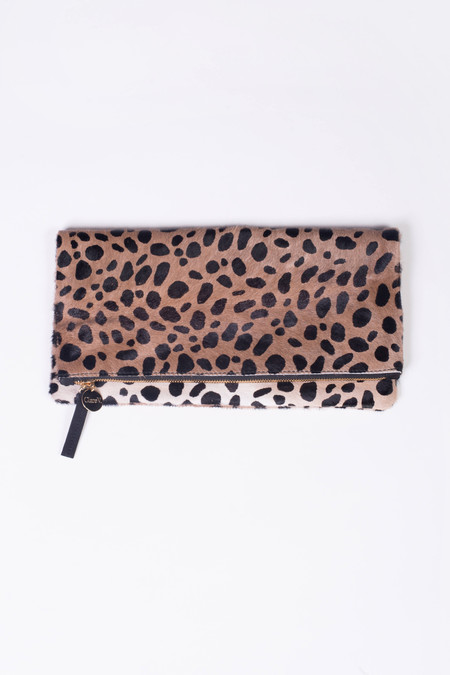 Clare V. Leopard Print Haircalf Foldover Clutch