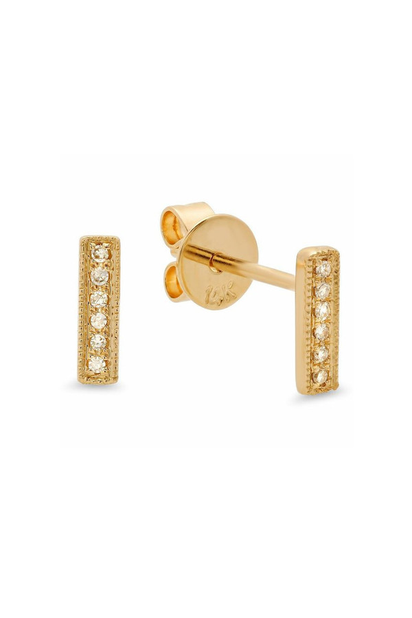Men's Sachi Jewelry Mini Bar Studs - 14K Yellow Gold