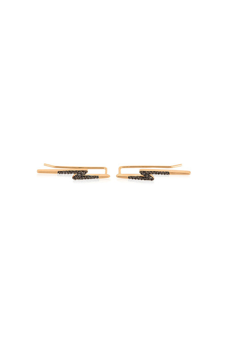 Adina Reyter Pave Lightning Bolt Wing Earrings 14k Yellow Gold Black Diamonds