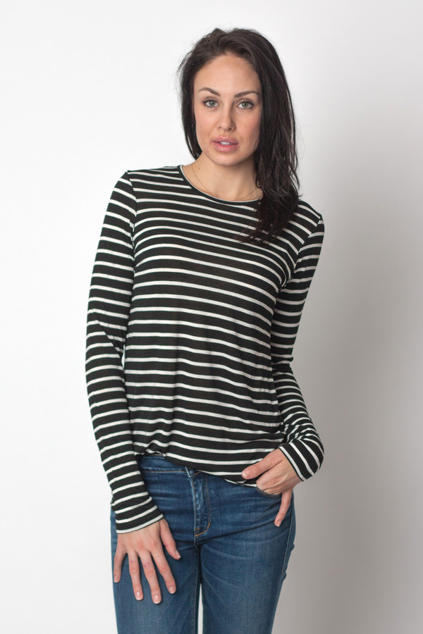 The Lady & the Sailor Round Bottom Tee Black Stripe