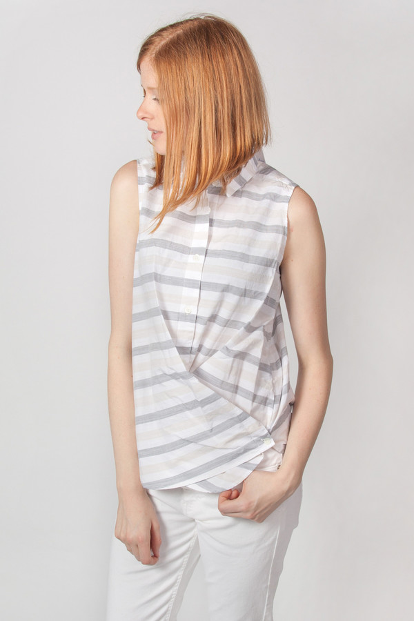Steven Alan Sleeveless Cross Over Shirt Grey Tan Stripe