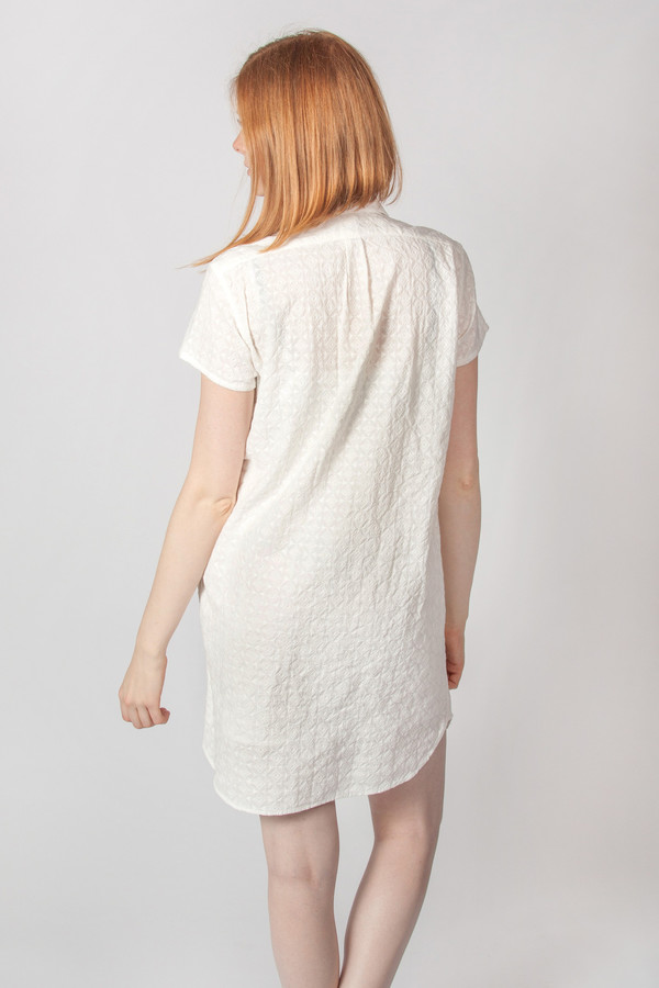 Steven Alan SS Classic Shirt Dress Geo Embroidery White