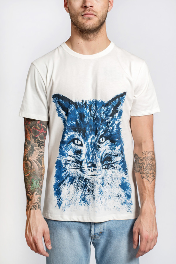 Men's Maison Kitsune Tee Shirt Fox Brush