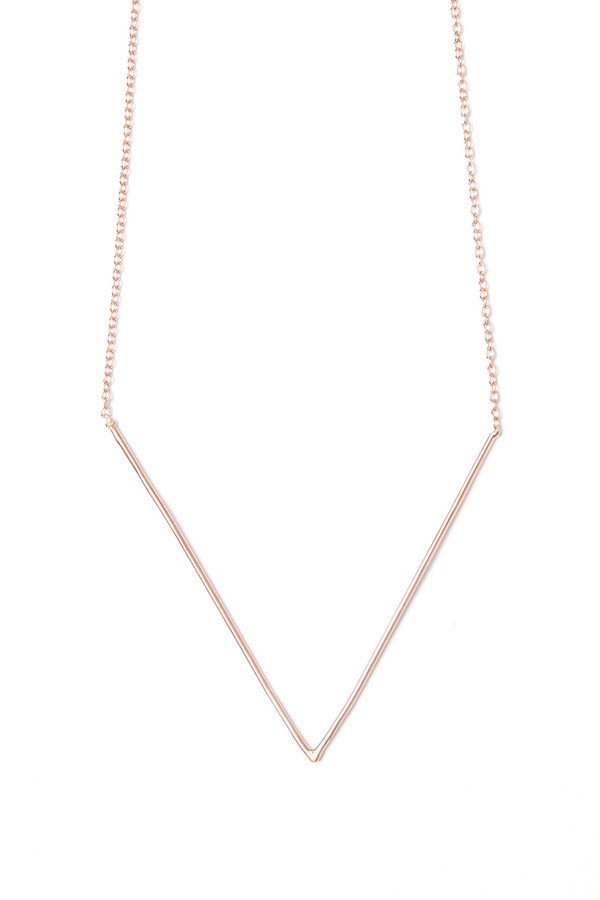 V Necklace 10K Rose Gold