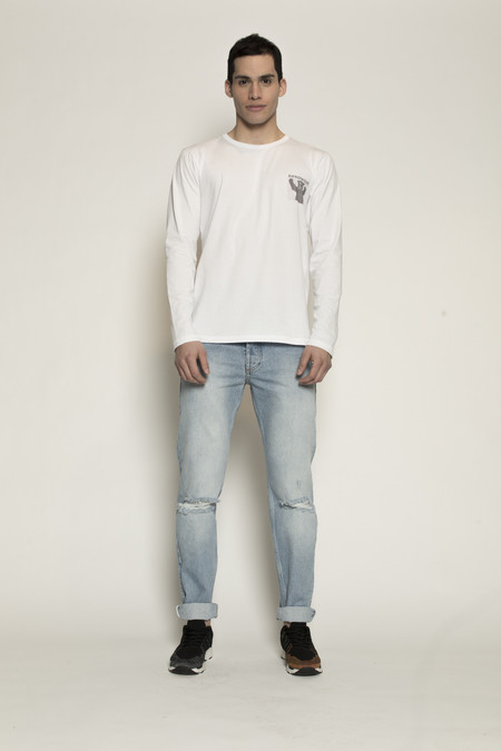 Men's Soulland Albert White Long Sleeve T-Shirt