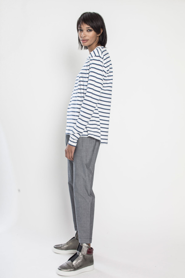 KOWTOW Building Block Boyfriend Top in Blue/White Stripes