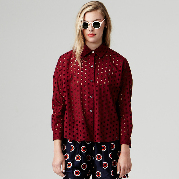 Nikki Chasin Ada Eyelet Buttondown - Wine