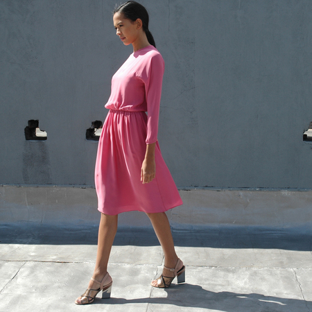 Nikki Chasin Isa Long Sleeve Keyhole Dress - Bubblegum