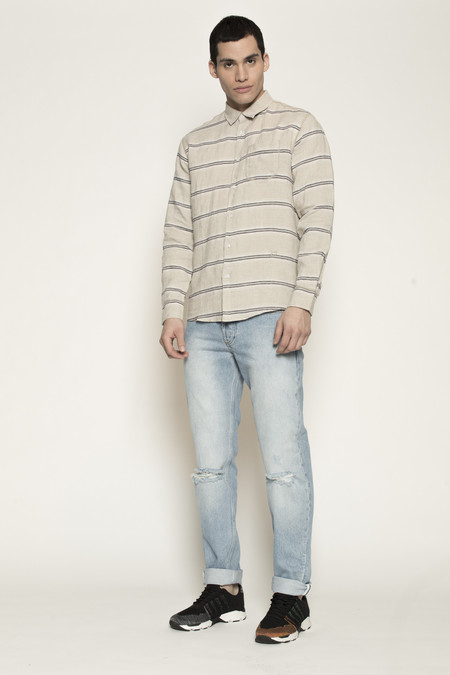 Men's Soulland Logan Shirt with Pockets in Beige w/ Navy Stripes