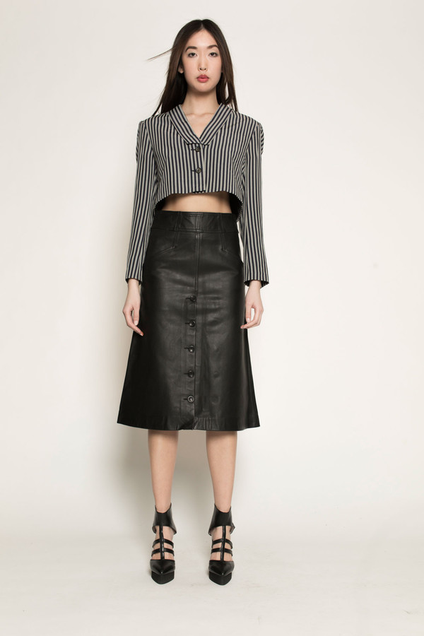 Dzojchen Mid-Length High-Waisted Leather Skirt in Black Leather