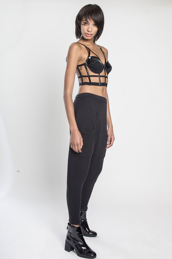 CHROMAT Patent Harness Bustier in Black Patent Leather