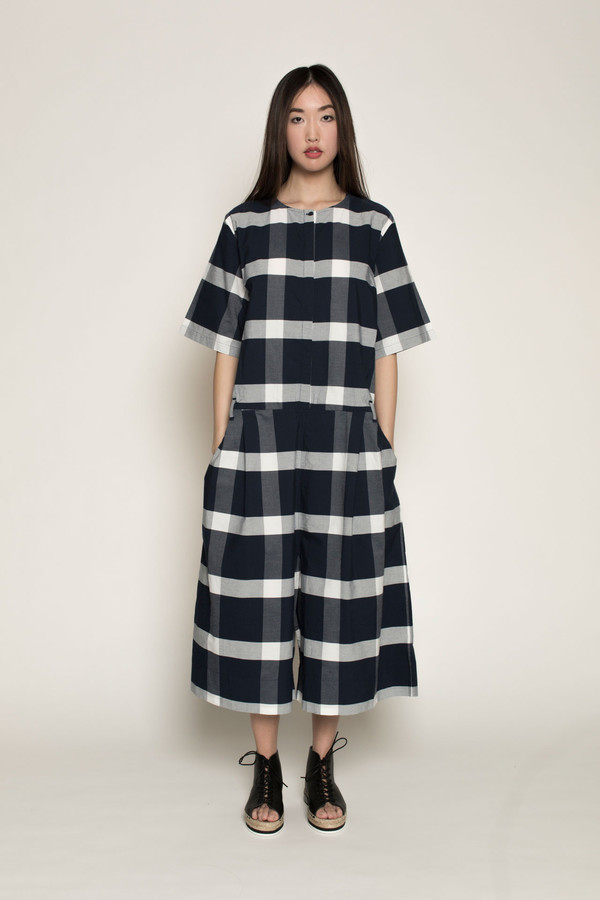 Kowtow Pen to Paper Jumpsuit in Navy/White Check