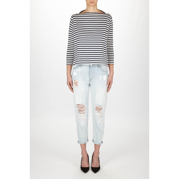 """Just Female """"Kath"""" Short Sleeve Fitted Nautical Striped Top"""