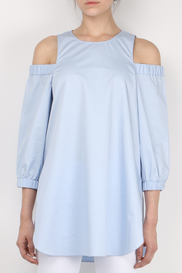 Tibi Satin Poplin Cut Out Shoulder Tunic