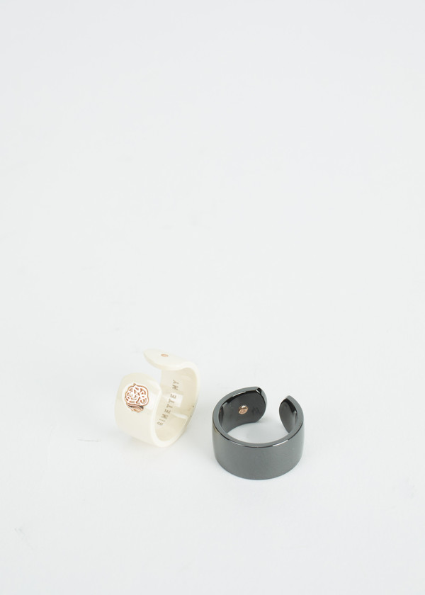 Ginette NY Ceramic Monogram Open Ring