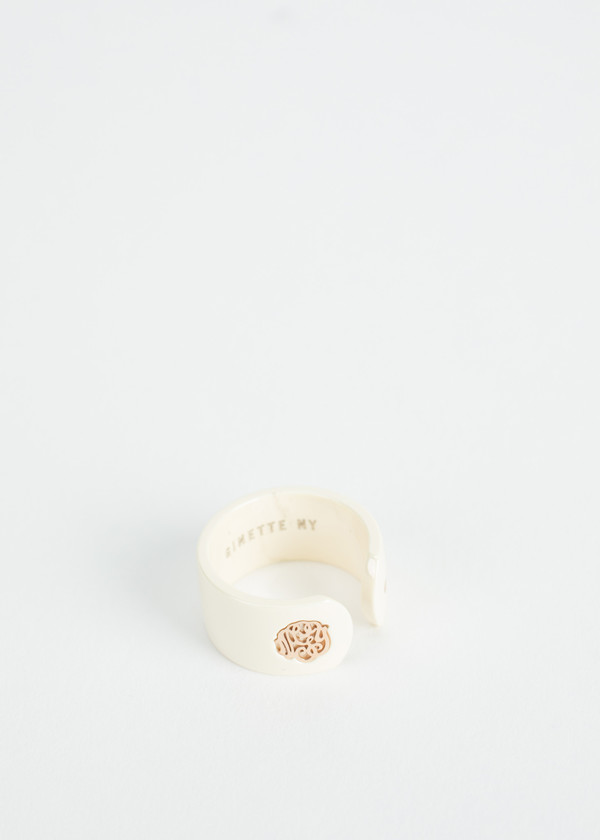 Ginette NY Ivory Ceramic Monogram Open Ring