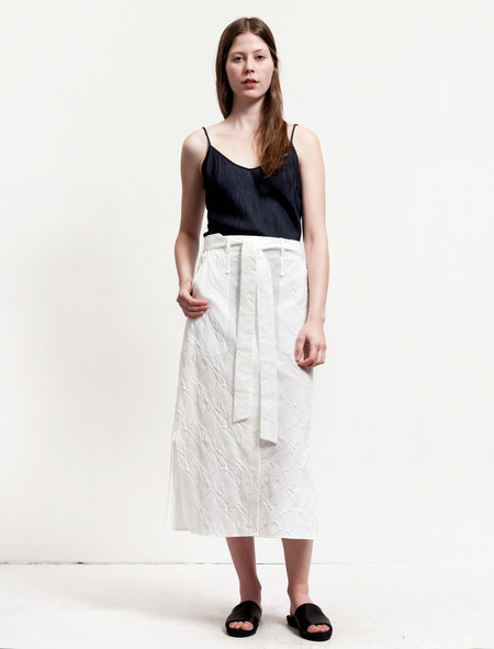 Thakoon Womens Long Embossed Skirt - White