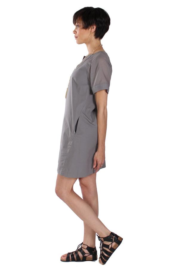 European Culture Slit Tunic Neck Dress