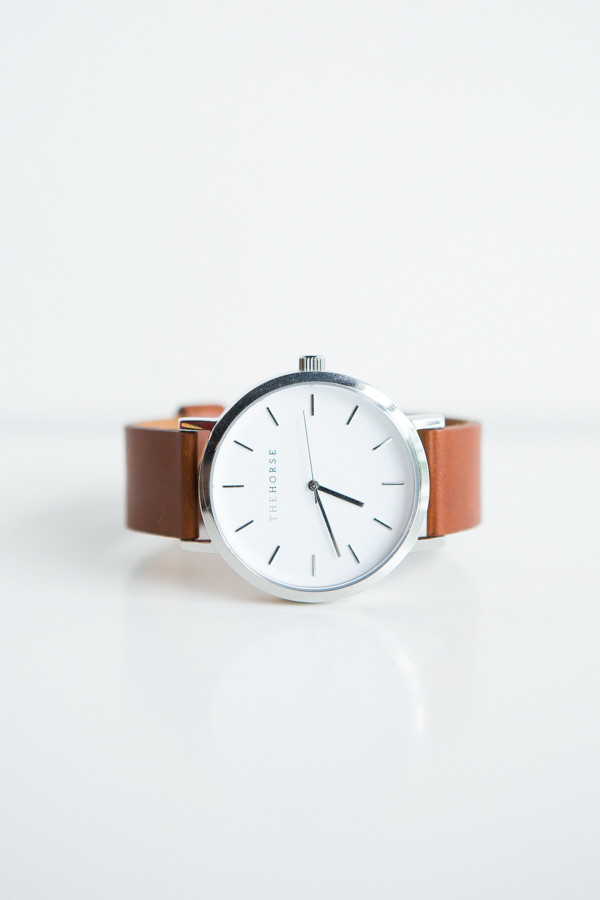 The Horse Original Leather Watch / Stainless Steel, White Face, Dark Tan Band