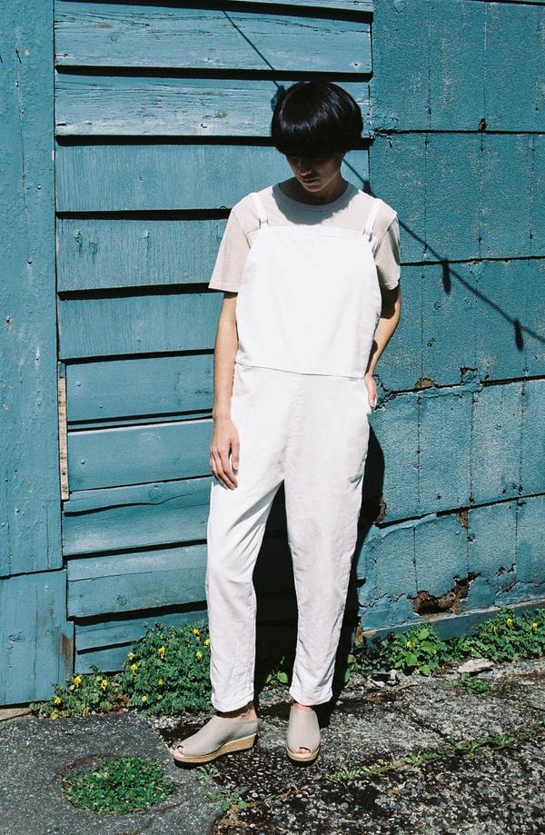 BaseRange Long Strap Overall - white corduroy
