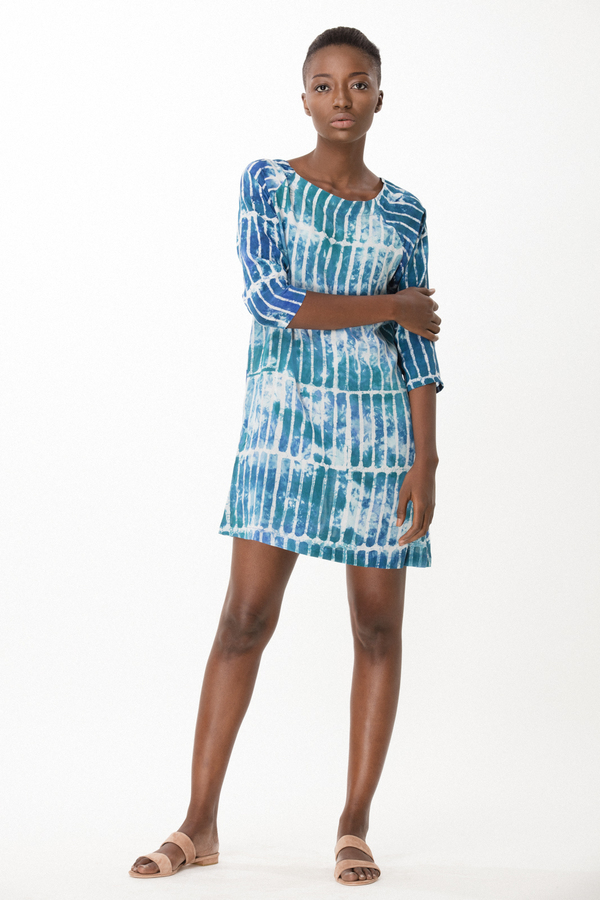 Osei-Duro Linter Dress in Marine Chalk