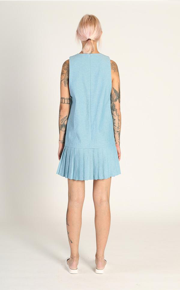 Kurt Lyle Princeton Pleat Dress - 1970s Denim