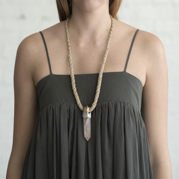 Adina Mills Pink Quartz Necklace