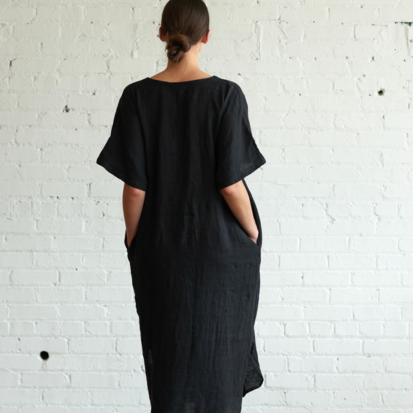 Black Crane Linen Long Dress Black