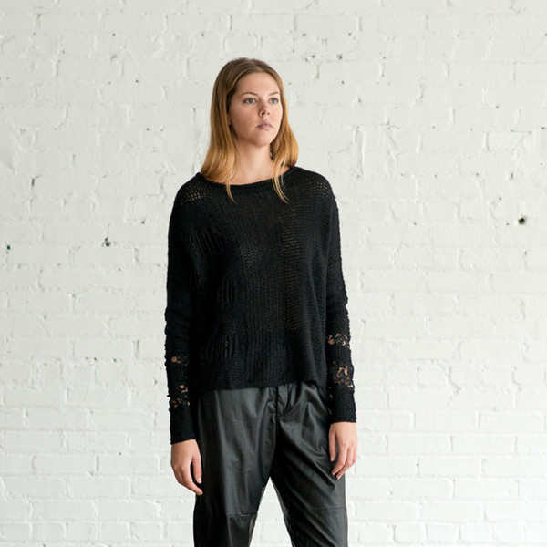 Gary Graham Long Sleeve Lacy Sweater