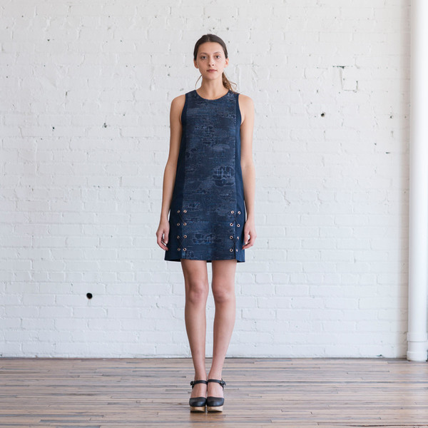 Tess Giberson Jacquard & Denim Dress w/ Lacing