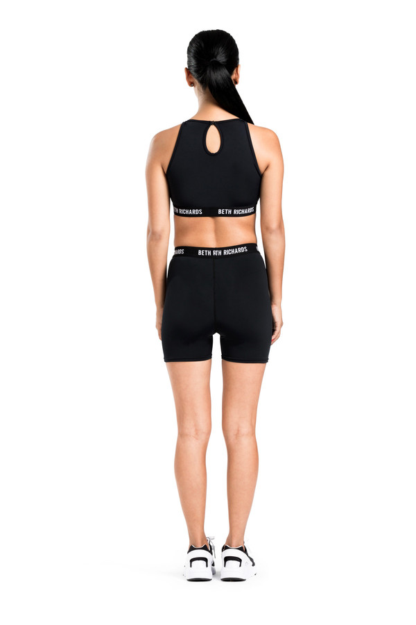 BETH RICHARDS Fel Top - Black CROP TANK WITH KEYHOLE BACK